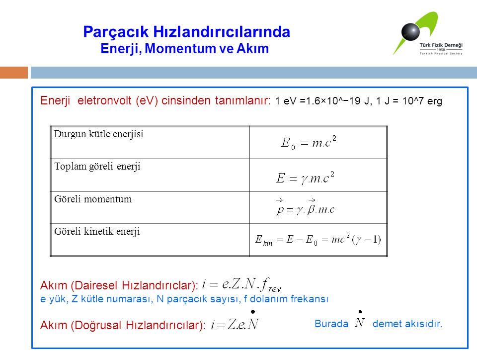 Parçacık Hızlandırıcılarında Enerji, Momentum ve Akım Enerji eletronvolt (eV) cinsinden tanımlanır: 1 eV =1.6×10^−19 J, 1 J = 10^7 erg Akım (Dairesel