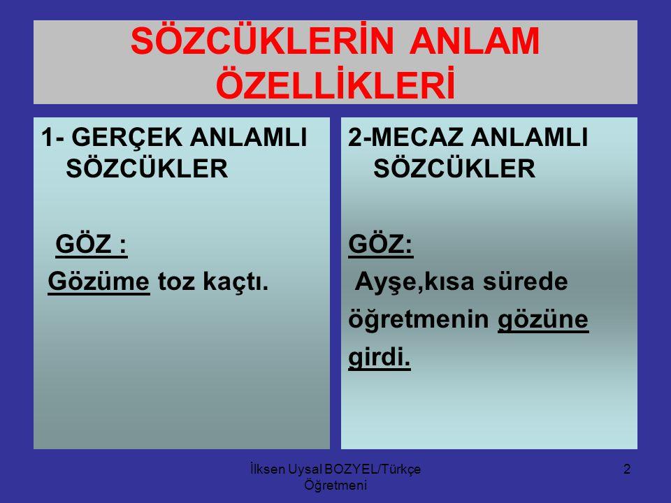 İlksen Uysal BOZYEL/Türkçe Öğretmeni 1 SÖZCÜKTE ANLAM Anlamlı en küçük ses birliğine sözcük (kelime) denir. Sözcüklerin zihnimizde oluşturduğu resim i