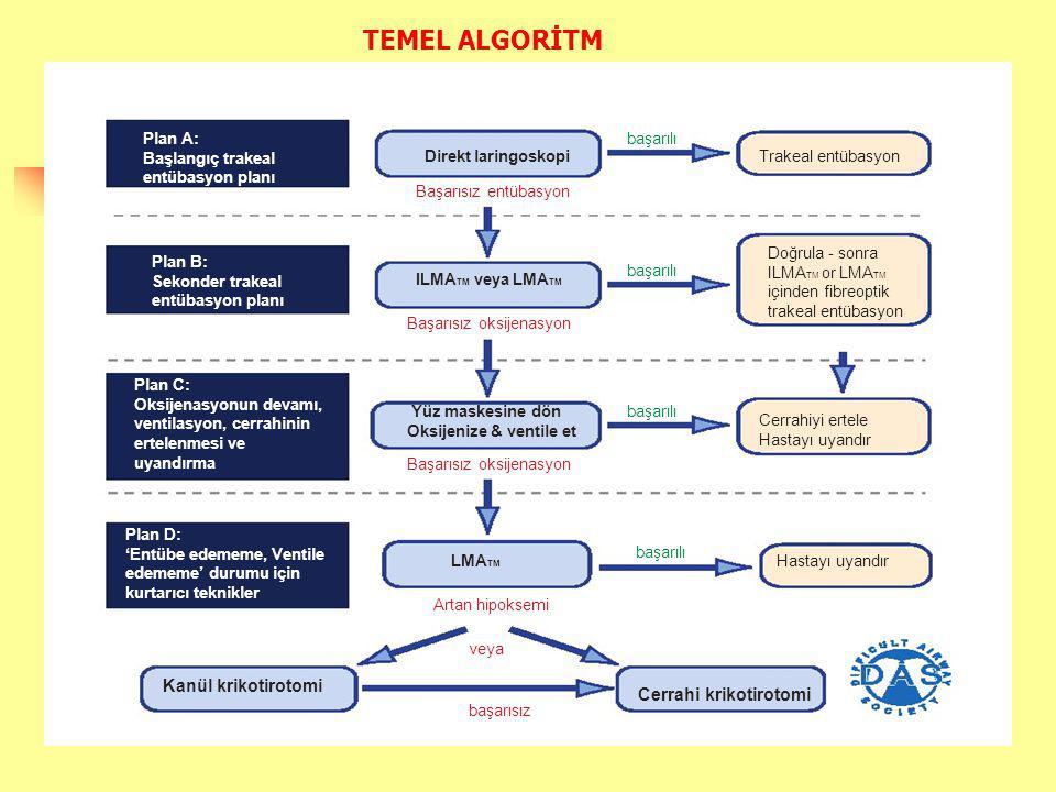 Plan A: Başlangıç trakeal entübasyon planı başarılı Direkt laringoskopi Başarısız entübasyon Trakeal entübasyon Plan B: Sekonder trakeal entübasyon planı Başarısız oksijenasyon Doğrula - sonra ILMA TM or LMA TM içinden fibreoptik trakeal entübasyon Plan C: Oksijenasyonun devamı, ventilasyon, cerrahinin ertelenmesi ve uyandırma Yüz maskesine dön Oksijenize & ventile et Cerrahiyi ertele Hastayı uyandır Plan D: 'Entübe edememe, Ventile edememe' durumu için kurtarıcı teknikler LMA TM Artan hipoksemi veya Kanül krikotirotomi başarısız başarılı ILMA TM veya LMA TM TEMEL ALGORİTM Başarısız oksijenasyon Hastayı uyandır Cerrahi krikotirotomi