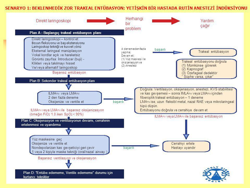 Direkt laringoskopi Plan A : Başlangıç trakeal entübasyon planı Direkt laringoskopi – kontrol et: Boyun fleksiyonu ve baş ekstensiyonu Laringoskop tekniği ve kuvvet yönü Eksternal laringeal manüplasyon Vokal kordlar açık ve hareketsiz Görüntü zayıfsa: İntroducer (buji) - Klikleri veya takılmayı hisset Ve/veya alternatif laringoskop Başarısız entübasyon Plan B: Sekonder trakeal entübasyon planı Herhangi bir problem Yardım çağır 4 denemeden fazla yapma: Devam et: (1) Yüz maskesi ile oksijenasyon ve (2) Anestezi başarılı Trakeal entübasyon Trakeal entübasyonu doğrula (1) Mümkünse görerek (2) Kapnograf (3) Özefageal dedektör Şüphe varsa, çıkar ILMA TM veya LMA TM 2 den fazla deneme Oksijenize ve ventile et ILMA TM veya LMA TM ile başarısız oksijenizasyon (örneğin FiO 2 1.0 iken SpO 2 < 90%) başarılı Doğrula: Ventilasyon, oksijenasyon, anestezi, KVS stabilitesi ve kas gevşemesi – sonra IMLA TM veya LMA TM içinden fiberoptik trakeal entübasyon – 1 deneme LMA TM ise, uzun fleksibl metal, nazal RAE veya mikrolaringeal tüpü düşün.