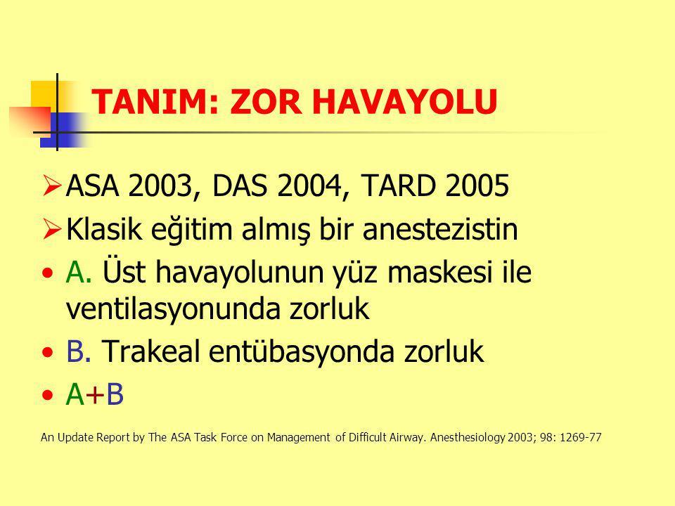 TANIM: ZOR HAVAYOLU  ASA 2003, DAS 2004, TARD 2005  Klasik eğitim almış bir anestezistin A.