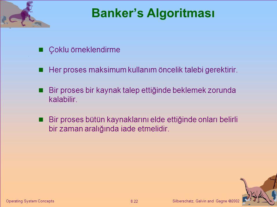 Silberschatz, Galvin and Gagne  2002 8.22 Operating System Concepts Banker's Algoritması Çoklu örneklendirme Her proses maksimum kullanım öncelik talebi gerektirir.