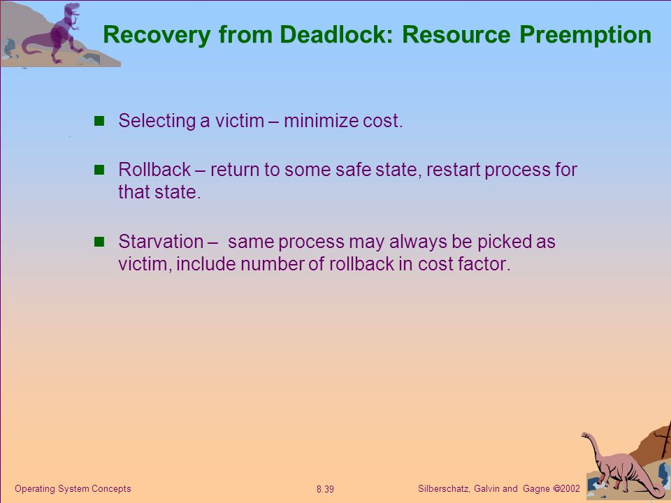 Silberschatz, Galvin and Gagne  2002 8.39 Operating System Concepts Recovery from Deadlock: Resource Preemption Selecting a victim – minimize cost. R