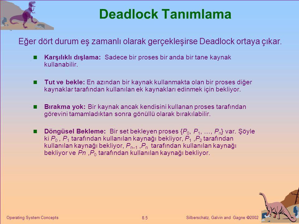 Silberschatz, Galvin and Gagne  2002 8.5 Operating System Concepts Deadlock Tanımlama Karşılıklı dışlama: Sadece bir proses bir anda bir tane kaynak kullanabilir.