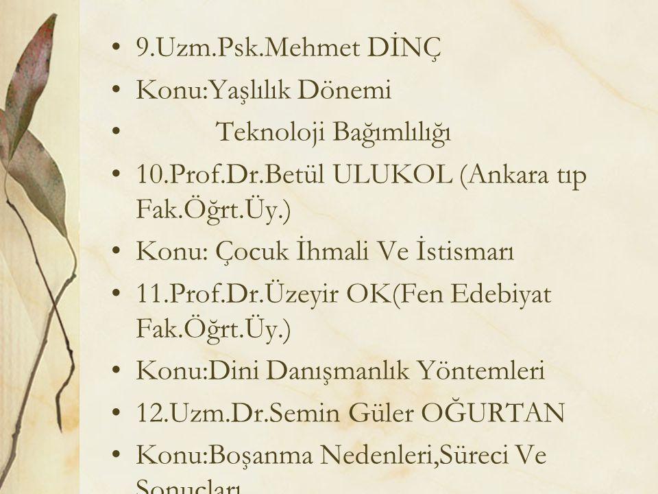 9.Uzm.Psk.Mehmet DİNÇ Konu:Yaşlılık Dönemi Teknoloji Bağımlılığı 10.Prof.Dr.Betül ULUKOL (Ankara tıp Fak.Öğrt.Üy.) Konu: Çocuk İhmali Ve İstismarı 11.