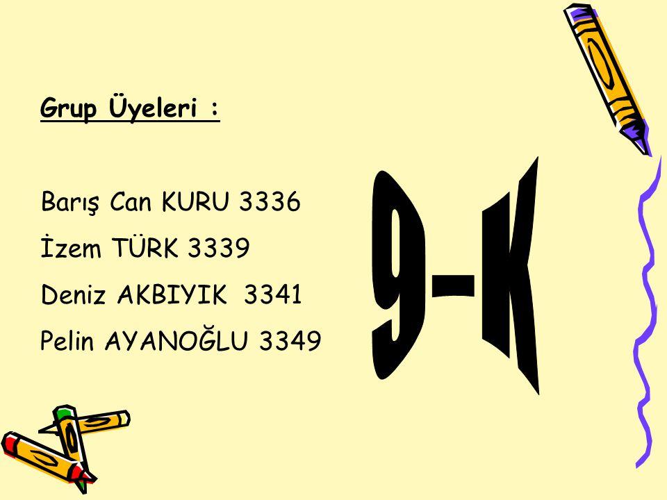 Grup Üyeleri : Barış Can KURU 3336 İzem TÜRK 3339 Deniz AKBIYIK 3341 Pelin AYANOĞLU 3349