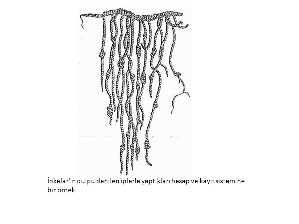 İnkalar ın quipu denilen iplerle yaptıkları hesap ve kayıt sistemine bir örnek