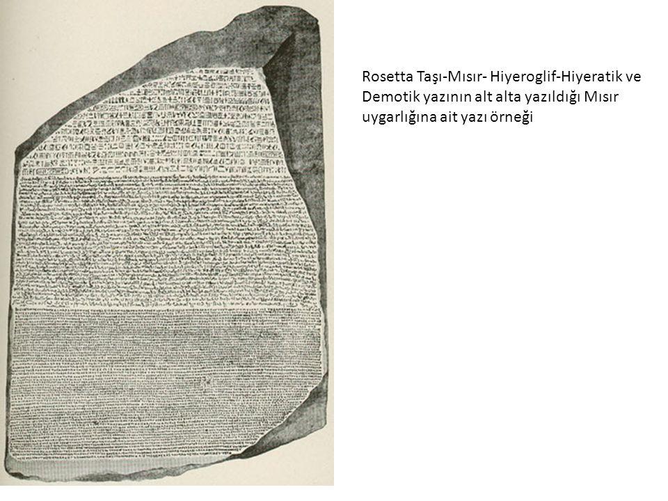 Rosetta Taşı-Mısır- Hiyeroglif-Hiyeratik ve Demotik yazının alt alta yazıldığı Mısır uygarlığına ait yazı örneği