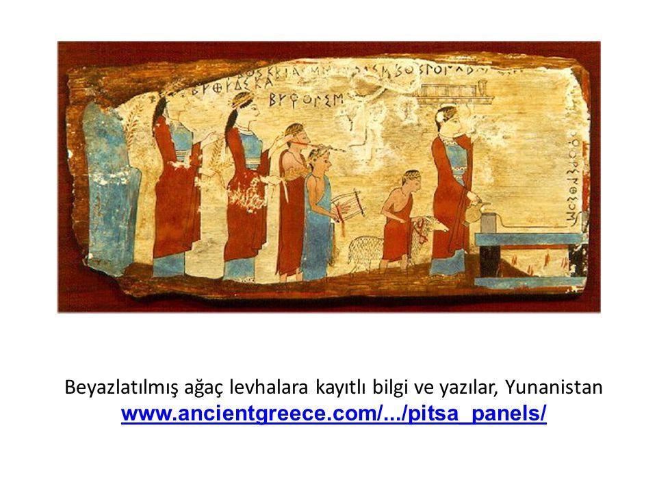 Beyazlatılmış ağaç levhalara kayıtlı bilgi ve yazılar, Yunanistan www.ancientgreece.com/.../pitsa_panels/