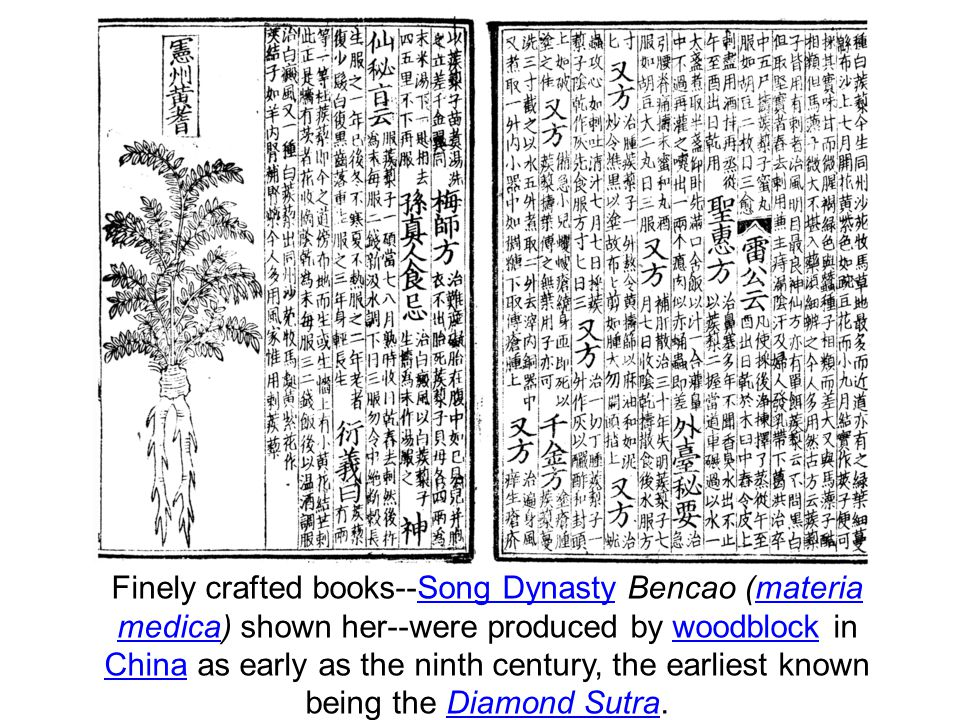 Finely crafted books--Song Dynasty Bencao (materia medica) shown her--were produced by woodblock in China as early as the ninth century, the earliest known being the Diamond Sutra.Song Dynastymateria medicawoodblock ChinaDiamond Sutra