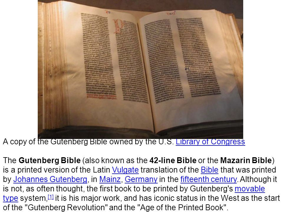A copy of the Gutenberg Bible owned by the U.S.