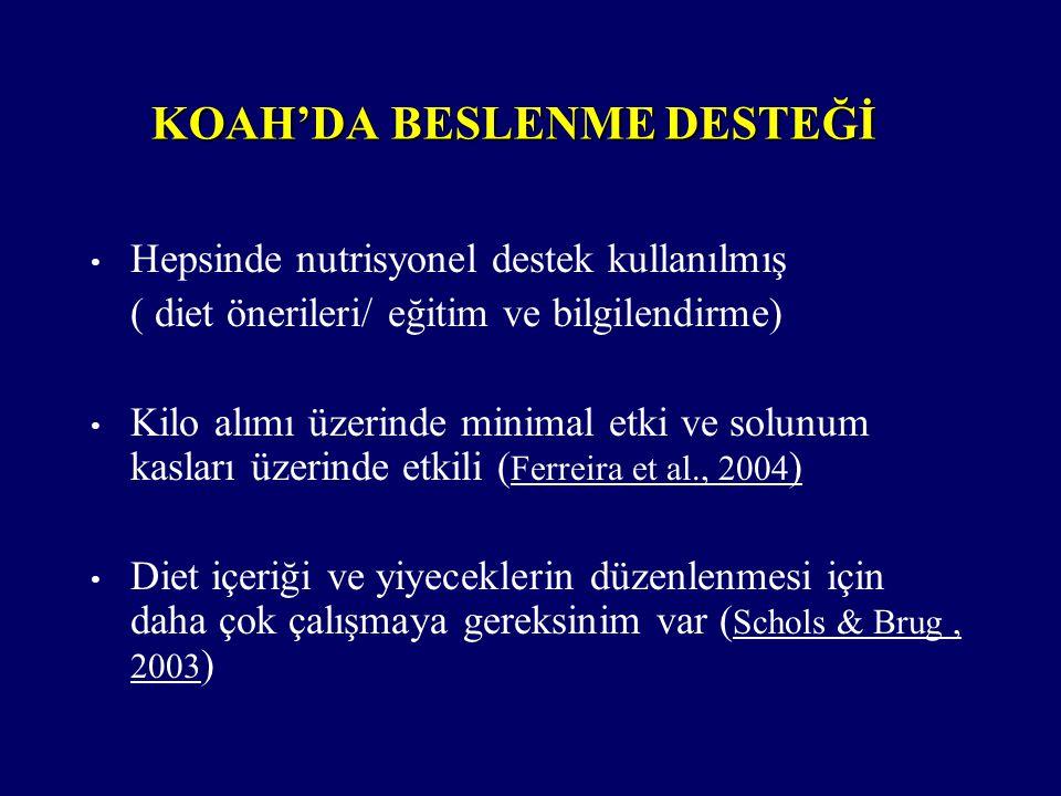 KOAH'DA BESLENME DESTEĞİ Hepsinde nutrisyonel destek kullanılmış ( diet önerileri/ eğitim ve bilgilendirme) Kilo alımı üzerinde minimal etki ve solunu