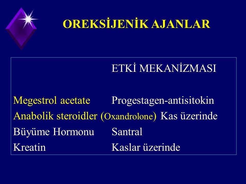 OREKSİJENİK AJANLAR ETKİ MEKANİZMASI Megestrol acetateProgestagen-antisitokin Anabolik steroidler ( Oxandrolone ) Kas üzerinde Büyüme HormonuSantral K