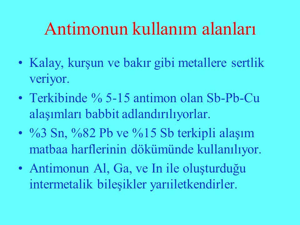 Antimonun kullanım alanları Kalay, kurşun ve bakır gibi metallere sertlik veriyor. Terkibinde % 5-15 antimon olan Sb-Pb-Cu alaşımları babbit adlandırı