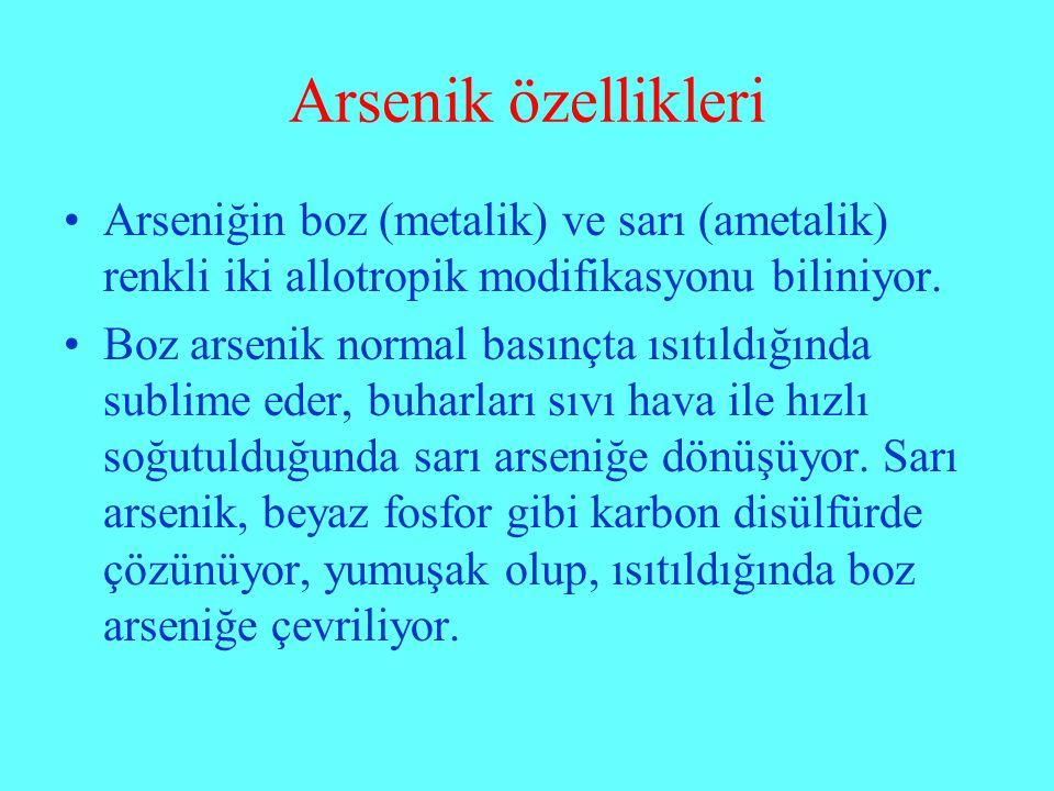 Arsenik özellikleri Arseniğin boz (metalik) ve sarı (ametalik) renkli iki allotropik modifikasyonu biliniyor. Boz arsenik normal basınçta ısıtıldığınd