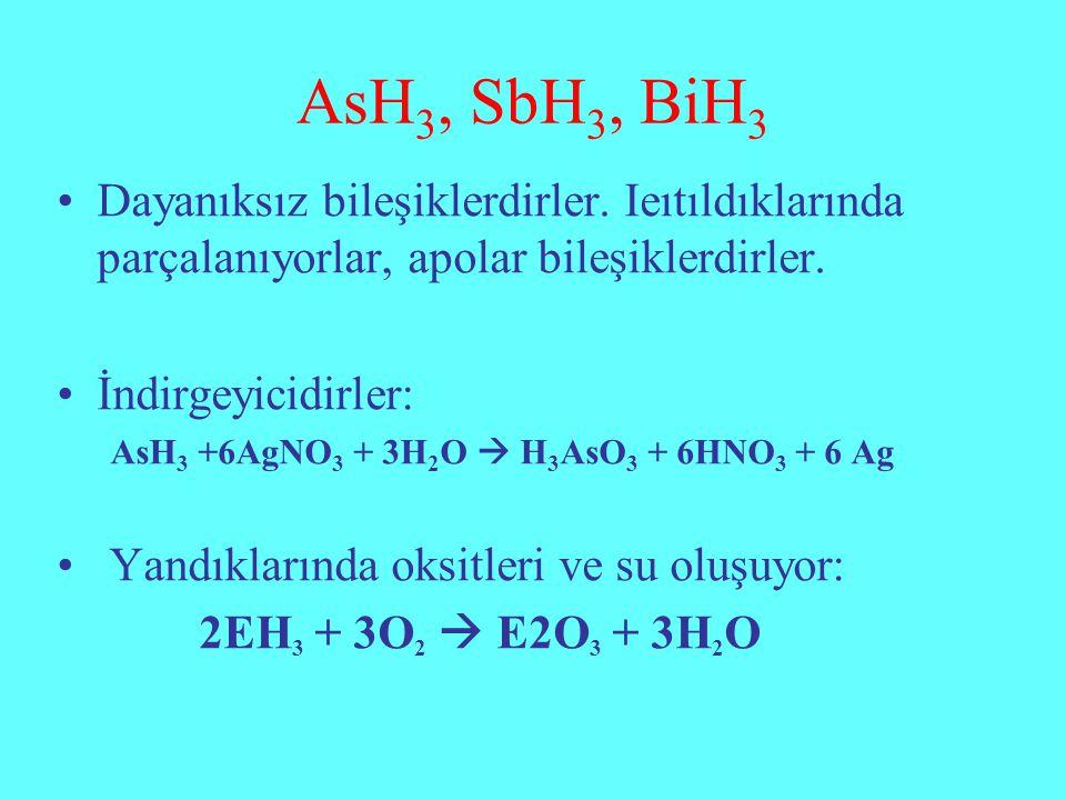 AsH 3, SbH 3, BiH 3 Dayanıksız bileşiklerdirler. Ieıtıldıklarında parçalanıyorlar, apolar bileşiklerdirler. İndirgeyicidirler: AsH 3 +6AgNO 3 + 3H 2 O