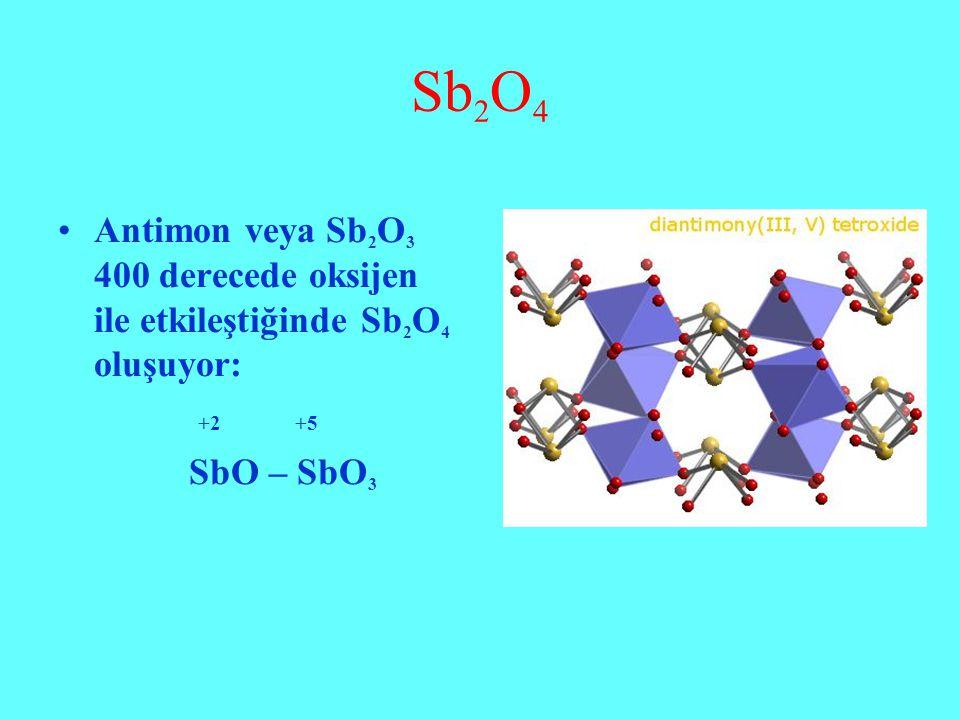 Sb 2 O 4 Antimon veya Sb 2 O 3 400 derecede oksijen ile etkileştiğinde Sb 2 O 4 oluşuyor: +2 +5 SbO – SbO 3