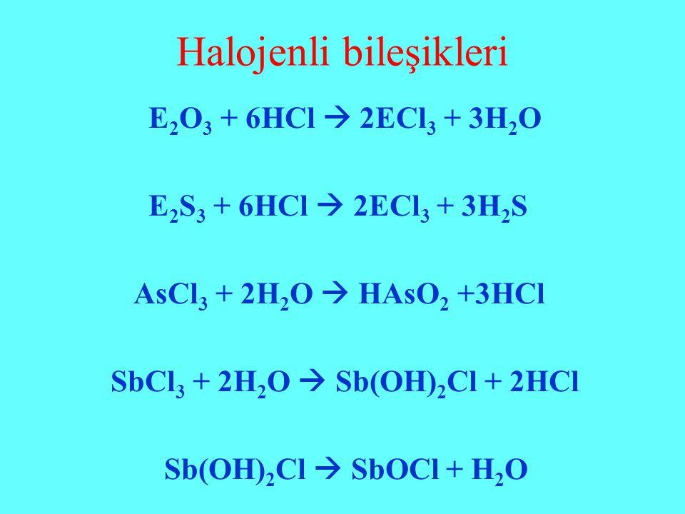 Halojenli bileşikleri E 2 O 3 + 6HCl  2ECl 3 + 3H 2 O E 2 S 3 + 6HCl  2ECl 3 + 3H 2 S AsCl 3 + 2H 2 O  HAsO 2 +3HCl SbCl 3 + 2H 2 O  Sb(OH) 2 Cl +
