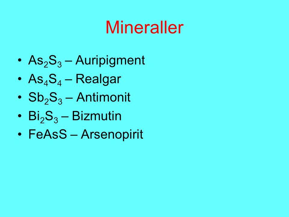Mineraller As 2 S 3 – Auripigment As 4 S 4 – Realgar Sb 2 S 3 – Antimonit Bi 2 S 3 – Bizmutin FeAsS – Arsenopirit