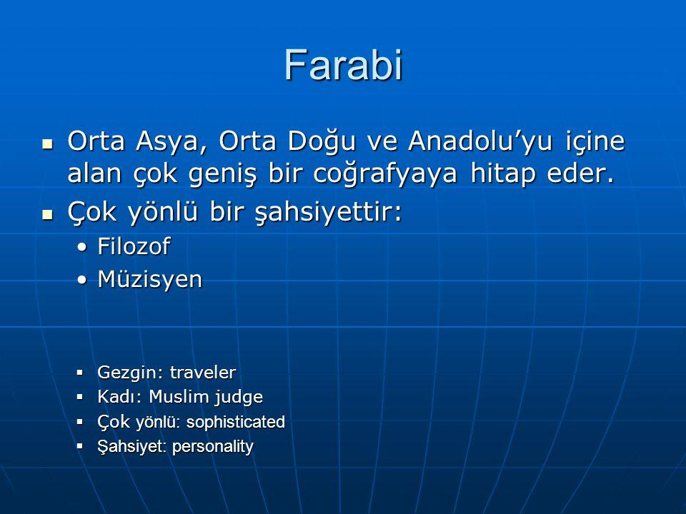 Farabi Orta Asya, Orta Doğu ve Anadolu'yu içine alan çok geniş bir coğrafyaya hitap eder.
