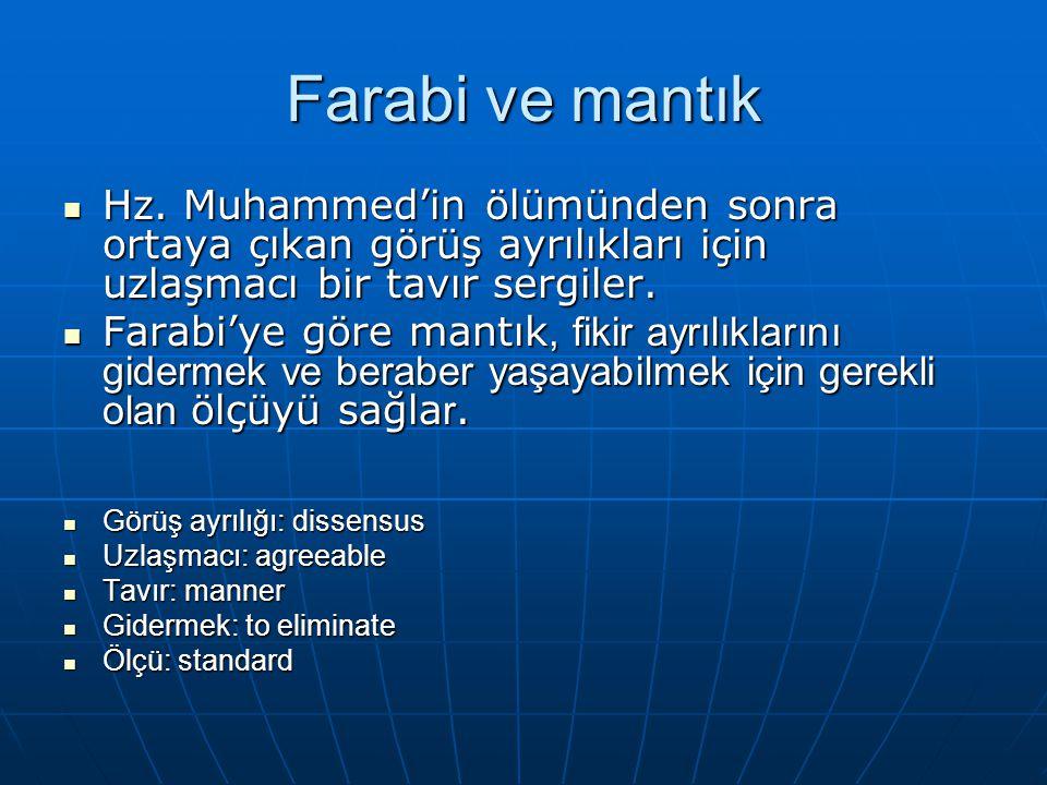 Farabi ve mantık Hz. Muhammed'in ölümünden sonra ortaya çıkan görüş ayrılıkları için uzlaşmacı bir tavır sergiler. Hz. Muhammed'in ölümünden sonra ort