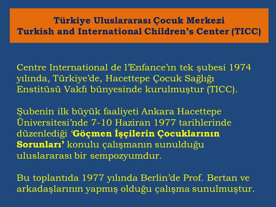 Centre International de l'Enfance'ın tek şubesi 1974 yılında, Türkiye'de, Hacettepe Çocuk Sağlığı Enstitüsü Vakfı bünyesinde kurulmuştur (TICC).