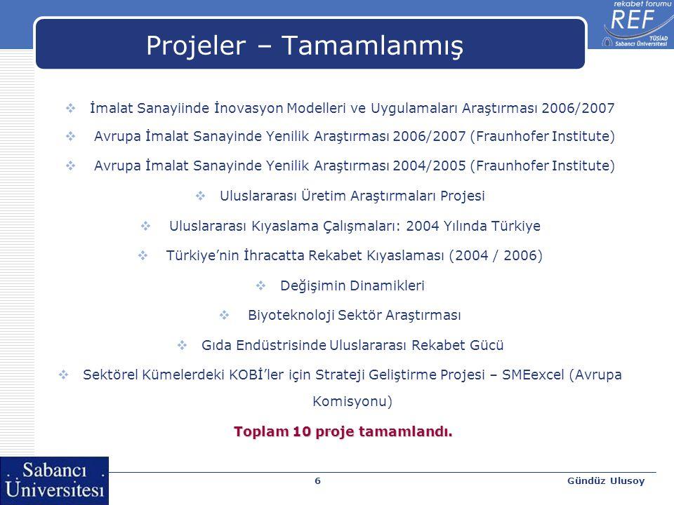 Gündüz Ulusoy6 Projeler – Tamamlanmış  İmalat Sanayiinde İnovasyon Modelleri ve Uygulamaları Araştırması 2006/2007  Avrupa İmalat Sanayinde Yenilik Araştırması 2006/2007 (Fraunhofer Institute)  Avrupa İmalat Sanayinde Yenilik Araştırması 2004/2005 (Fraunhofer Institute)  Uluslararası Üretim Araştırmaları Projesi  Uluslararası Kıyaslama Çalışmaları: 2004 Yılında Türkiye  Türkiye'nin İhracatta Rekabet Kıyaslaması (2004 / 2006)  Değişimin Dinamikleri  Biyoteknoloji Sektör Araştırması  Gıda Endüstrisinde Uluslararası Rekabet Gücü  Sektörel Kümelerdeki KOBİ'ler için Strateji Geliştirme Projesi – SMEexcel (Avrupa Komisyonu) Toplam 10 proje tamamlandı.