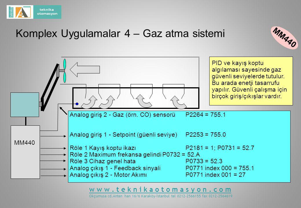 Komplex Uygulamalar 4 – Gaz atma sistemi MM440 PID ve kayış koptu algılaması sayesinde gaz güvenli seviyelerde tutulur.