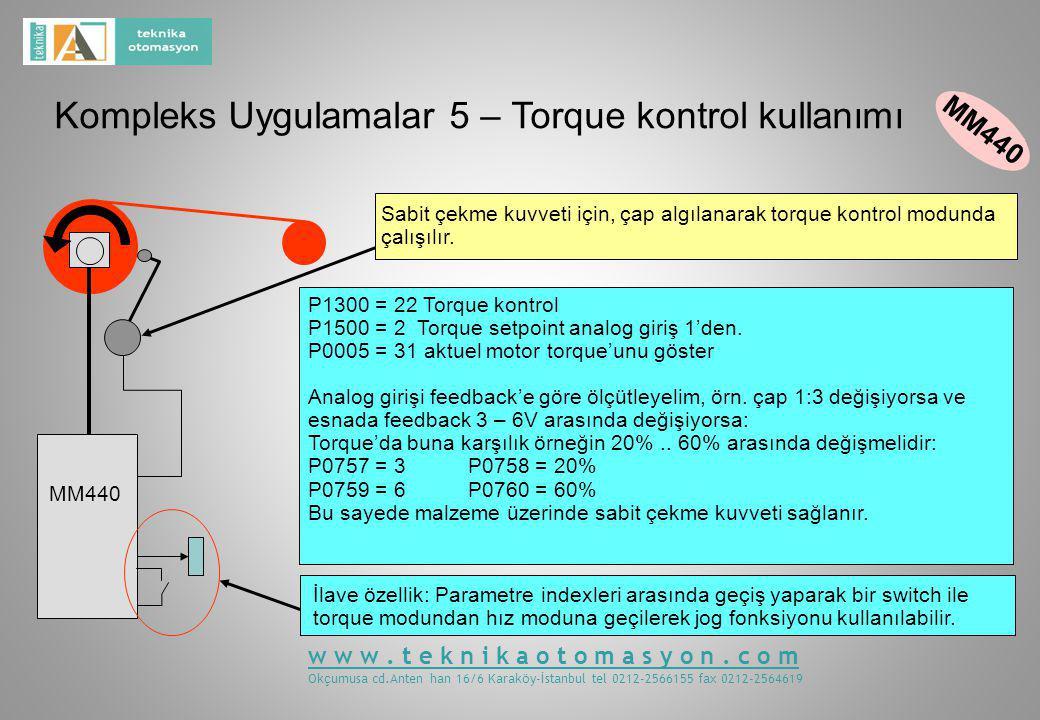 Kompleks Uygulamalar 5 – Torque kontrol kullanımı MM440 P1300 = 22 Torque kontrol P1500 = 2 Torque setpoint analog giriş 1'den.