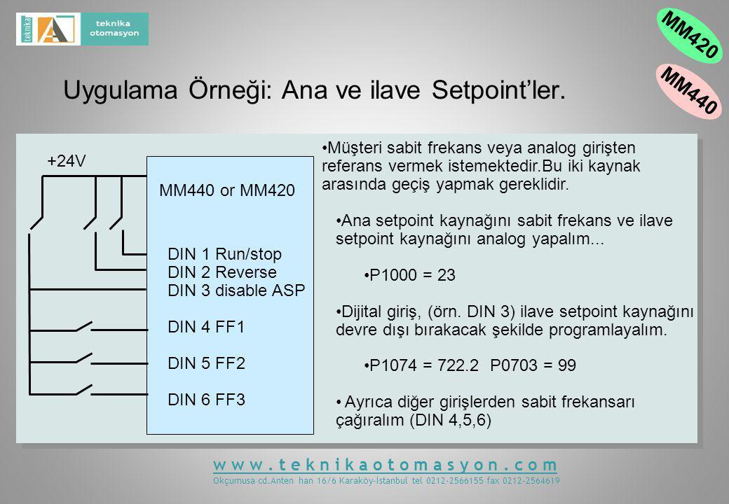 Uygulama Örneği: Ana ve ilave Setpoint'ler.