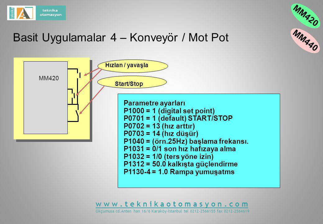 Parametre ayarları P1000 = 1 (digital set point) P0701 = 1 (default) START/STOP P0702 = 13 (hız arttır) P0703 = 14 (hız düşür) P1040 = (örn.25Hz) başlama frekansı.