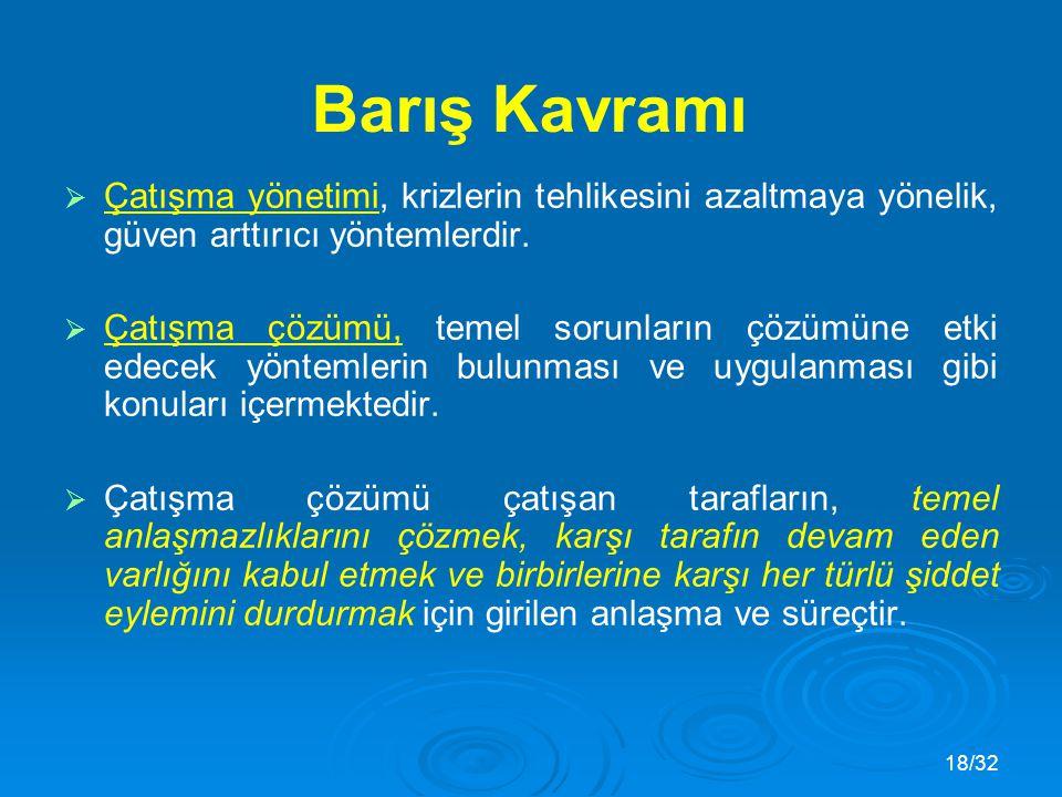 18/32 Barış Kavramı   Çatışma yönetimi, krizlerin tehlikesini azaltmaya yönelik, güven arttırıcı yöntemlerdir.