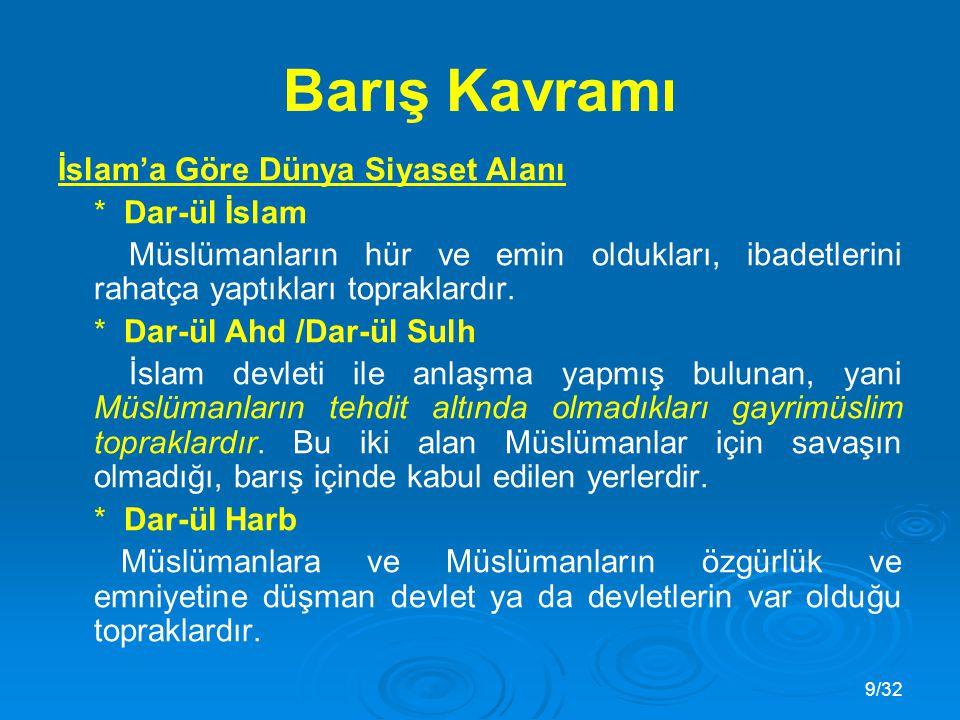 9/32 İslam'a Göre Dünya Siyaset Alanı * Dar-ül İslam Müslümanların hür ve emin oldukları, ibadetlerini rahatça yaptıkları topraklardır.