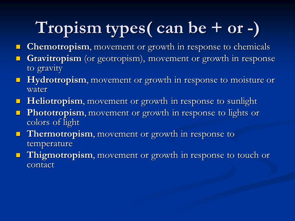 Tropism types( can be + or -) Chemotropism, movement or growth in response to chemicals Chemotropism, movement or growth in response to chemicals Grav