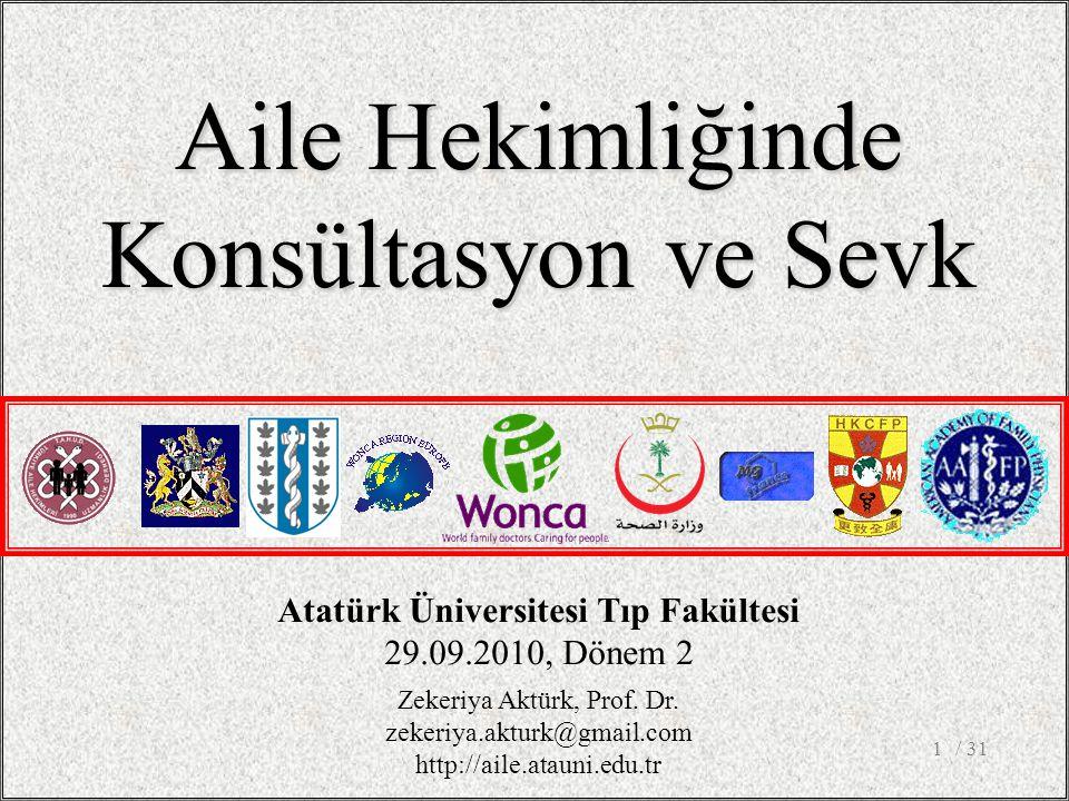 / 311 Aile Hekimliğinde Konsültasyon ve Sevk Atatürk Üniversitesi Tıp Fakültesi 29.09.2010, Dönem 2 Zekeriya Aktürk, Prof.