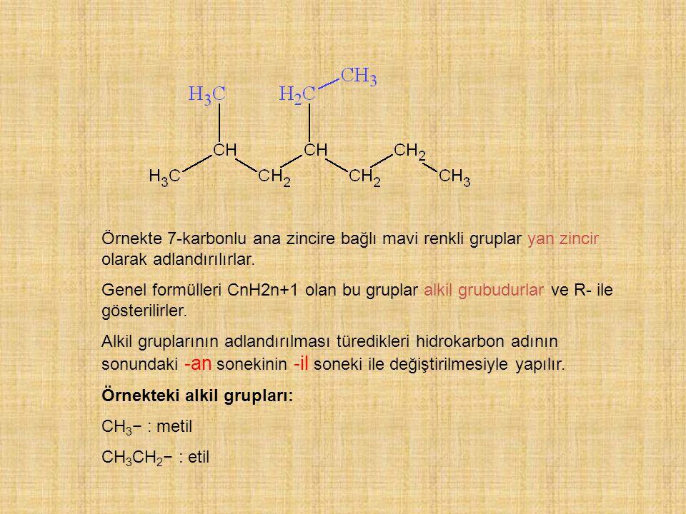 Örnekte 7-karbonlu ana zincire bağlı mavi renkli gruplar yan zincir olarak adlandırılırlar. Genel formülleri CnH2n+1 olan bu gruplar alkil grubudurlar