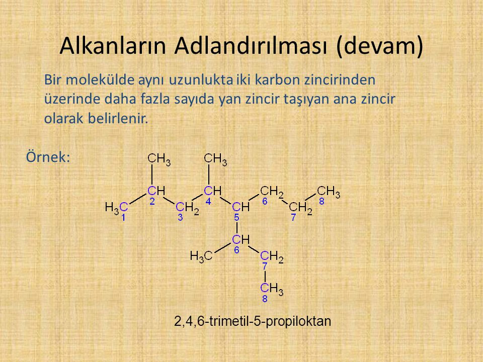 Alkanların Adlandırılması (devam) Bir molekülde aynı uzunlukta iki karbon zincirinden üzerinde daha fazla sayıda yan zincir taşıyan ana zincir olarak
