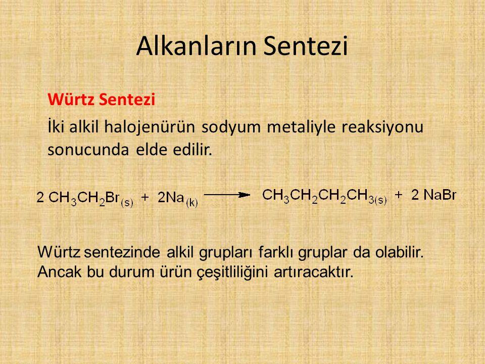 Alkanların Sentezi Würtz Sentezi İki alkil halojenürün sodyum metaliyle reaksiyonu sonucunda elde edilir. Würtz sentezinde alkil grupları farklı grupl