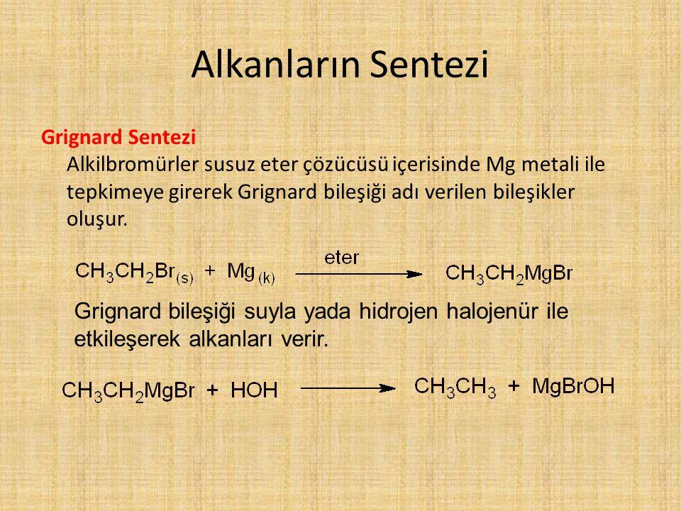 Alkanların Sentezi Grignard Sentezi Alkilbromürler susuz eter çözücüsü içerisinde Mg metali ile tepkimeye girerek Grignard bileşiği adı verilen bileşikler oluşur.