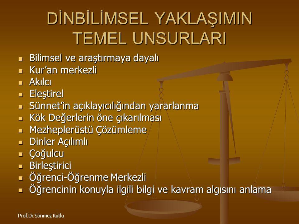 Prof.Dr.Sönmez Kutlu DEĞİŞİM VE SÜREKLİLİĞİ ALGILAMA Din evrenseldir.