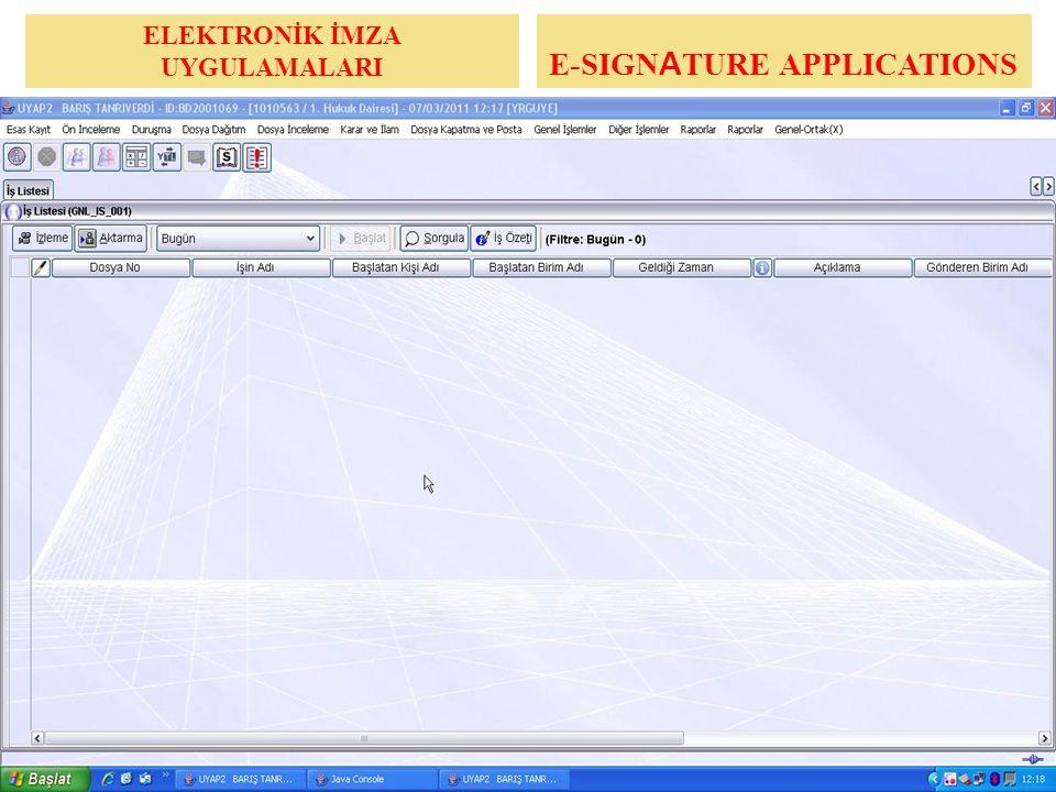 ELEKTRONİK İMZA UYGULAMALARI UYGULAMA E-SIGNATURE APPLICATIONS