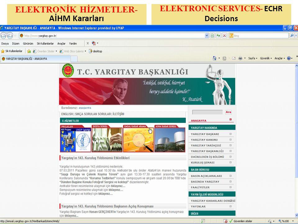 ELEKTRONİK HİZMETLER- AİHM Kararları ELEKTRONIC SERVICES- ECHR Decisions