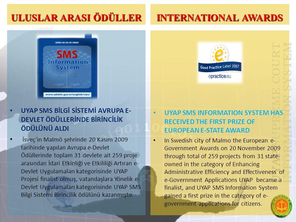 ULUSLAR ARASI ÖDÜLLER UYAP SMS BİLGİ SİSTEMİ AVRUPA E- DEVLET ÖDÜLLERİNDE BİRİNCİLİK ÖDÜLÜNÜ ALDI İsveç in Malmö şehrinde 20 Kasım 2009 tarihinde yapılan Avrupa e-Devlet Ödüllerinde toplam 31 devlete ait 259 proje arasından İdari Etkinliği ve Etkililiği Artıran e- Devlet Uygulamaları kategorisinde UYAP Projesi finalist olmuş, vatandaşlara Yönelik e- Devlet Uygulamaları kategorisinde UYAP SMS Bilgi Sistemi Birincilik ödülünü kazanmıştır.