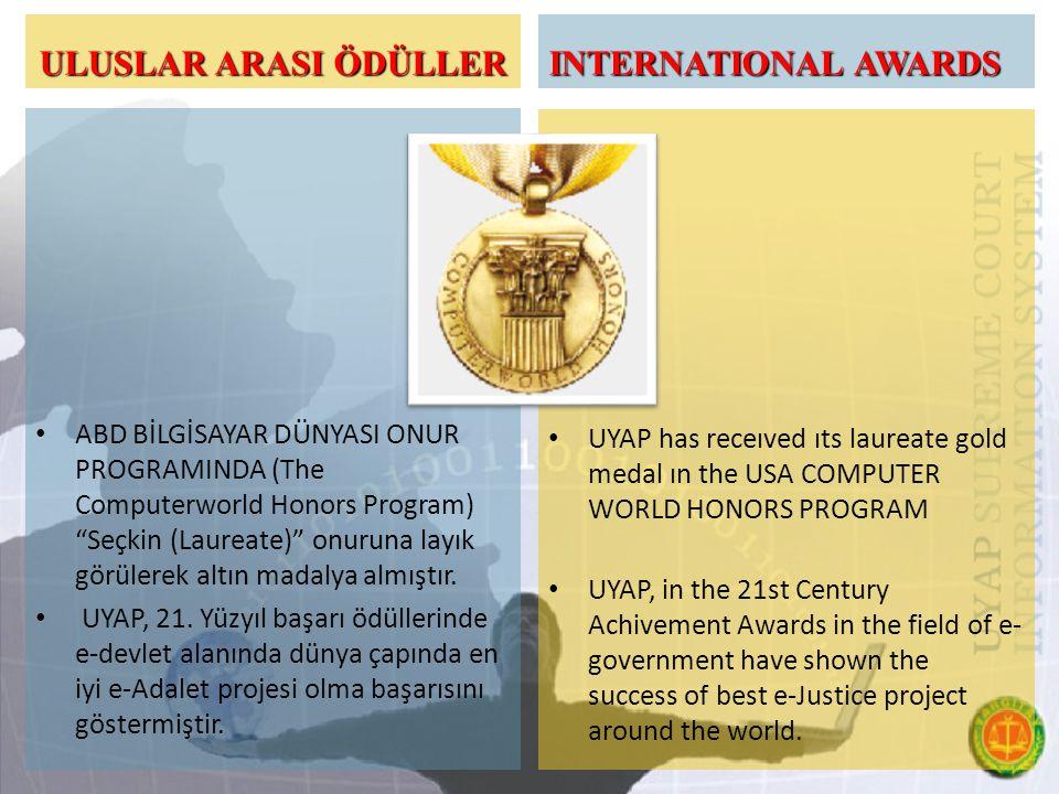 ULUSLAR ARASI ÖDÜLLER ABD BİLGİSAYAR DÜNYASI ONUR PROGRAMINDA (The Computerworld Honors Program) Seçkin (Laureate) onuruna layık görülerek altın madalya almıştır.