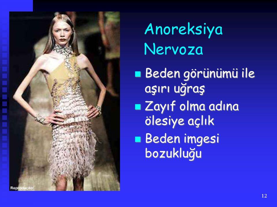 12 Anoreksiya Nervoza Beden görünümü ile aşırı uğraş Beden görünümü ile aşırı uğraş Zayıf olma adına ölesiye açlık Zayıf olma adına ölesiye açlık Beden imgesi bozukluğu Beden imgesi bozukluğu