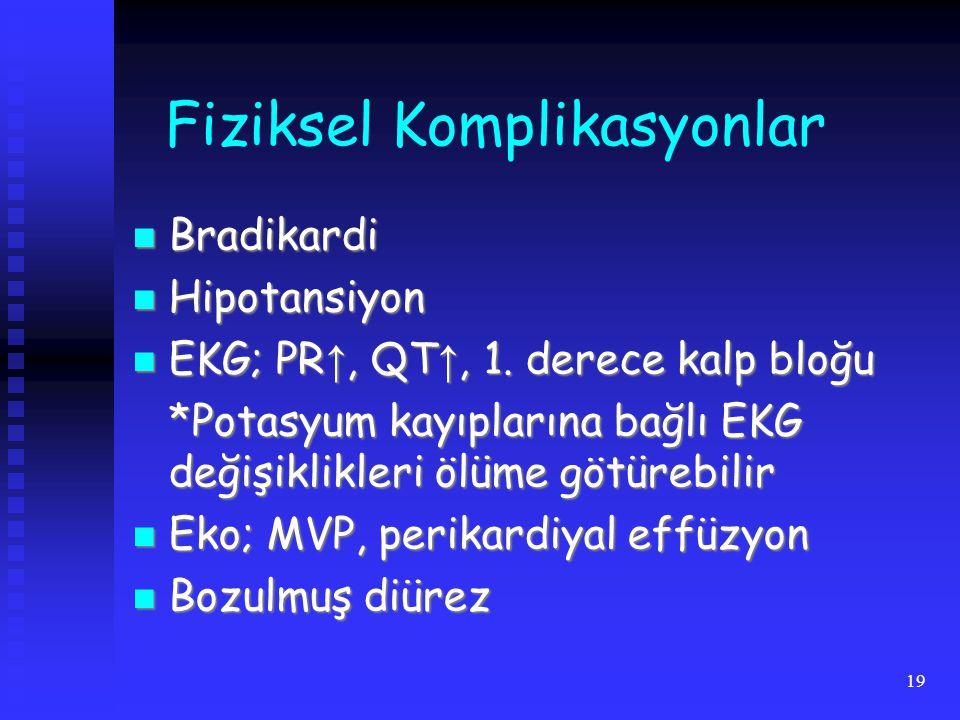 19 Fiziksel Komplikasyonlar Bradikardi Bradikardi Hipotansiyon Hipotansiyon EKG; PR ↑, QT ↑, 1. derece kalp bloğu EKG; PR ↑, QT ↑, 1. derece kalp bloğ