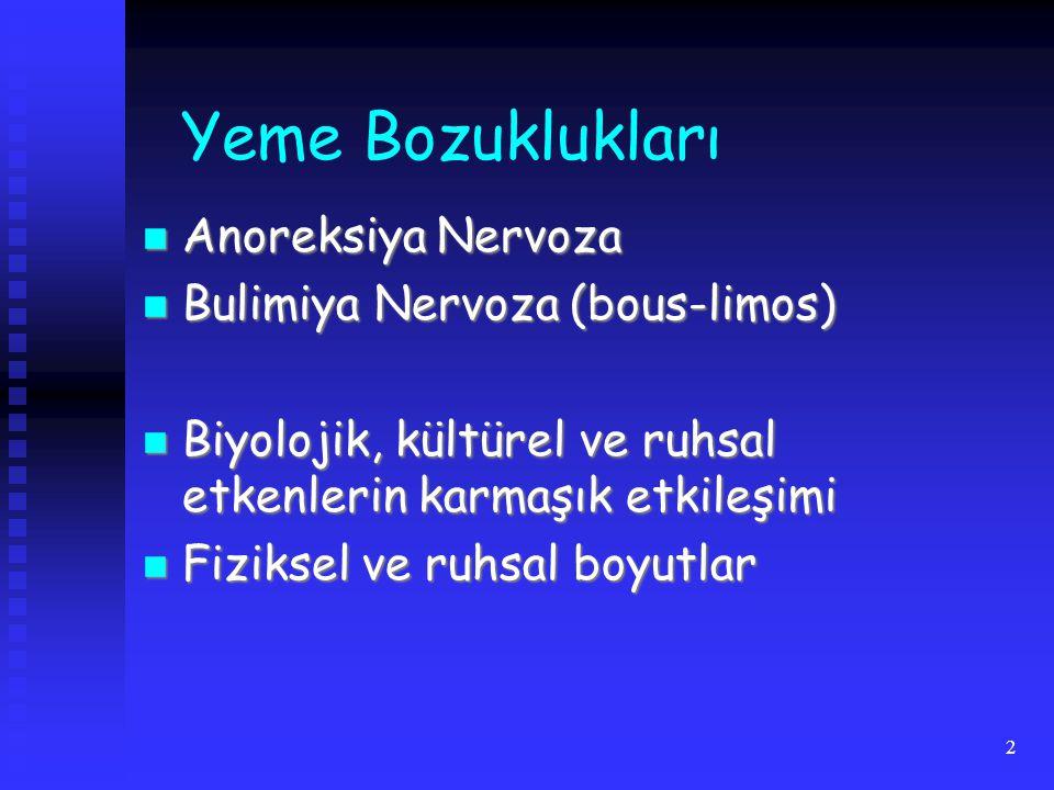 2 Yeme Bozuklukları Anoreksiya Nervoza Anoreksiya Nervoza Bulimiya Nervoza (bous-limos) Bulimiya Nervoza (bous-limos) Biyolojik, kültürel ve ruhsal etkenlerin karmaşık etkileşimi Biyolojik, kültürel ve ruhsal etkenlerin karmaşık etkileşimi Fiziksel ve ruhsal boyutlar Fiziksel ve ruhsal boyutlar