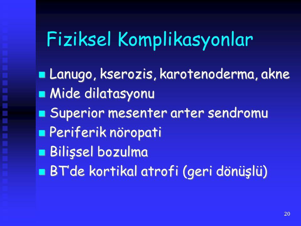 20 Fiziksel Komplikasyonlar Lanugo, kserozis, karotenoderma, akne Lanugo, kserozis, karotenoderma, akne Mide dilatasyonu Mide dilatasyonu Superior mesenter arter sendromu Superior mesenter arter sendromu Periferik nöropati Periferik nöropati Bilişsel bozulma Bilişsel bozulma BT'de kortikal atrofi (geri dönüşlü) BT'de kortikal atrofi (geri dönüşlü)