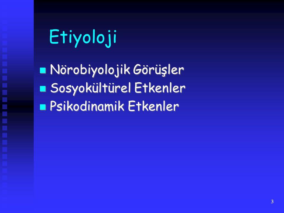3 Etiyoloji Nörobiyolojik Görüşler Nörobiyolojik Görüşler Sosyokültürel Etkenler Sosyokültürel Etkenler Psikodinamik Etkenler Psikodinamik Etkenler