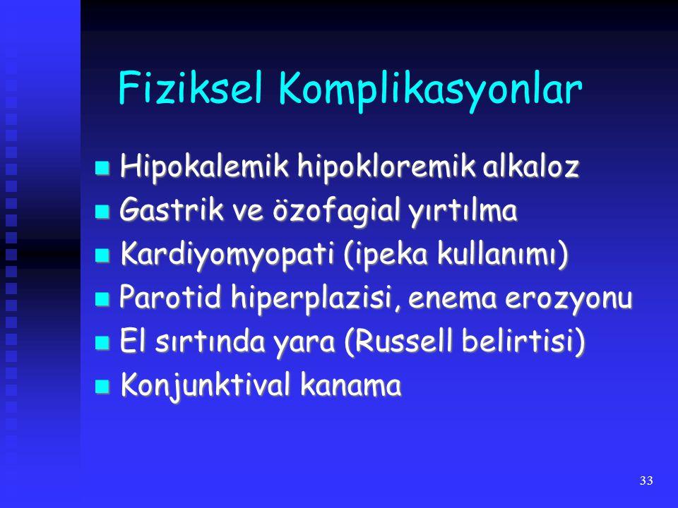 33 Fiziksel Komplikasyonlar Hipokalemik hipokloremik alkaloz Hipokalemik hipokloremik alkaloz Gastrik ve özofagial yırtılma Gastrik ve özofagial yırtılma Kardiyomyopati (ipeka kullanımı) Kardiyomyopati (ipeka kullanımı) Parotid hiperplazisi, enema erozyonu Parotid hiperplazisi, enema erozyonu El sırtında yara (Russell belirtisi) El sırtında yara (Russell belirtisi) Konjunktival kanama Konjunktival kanama